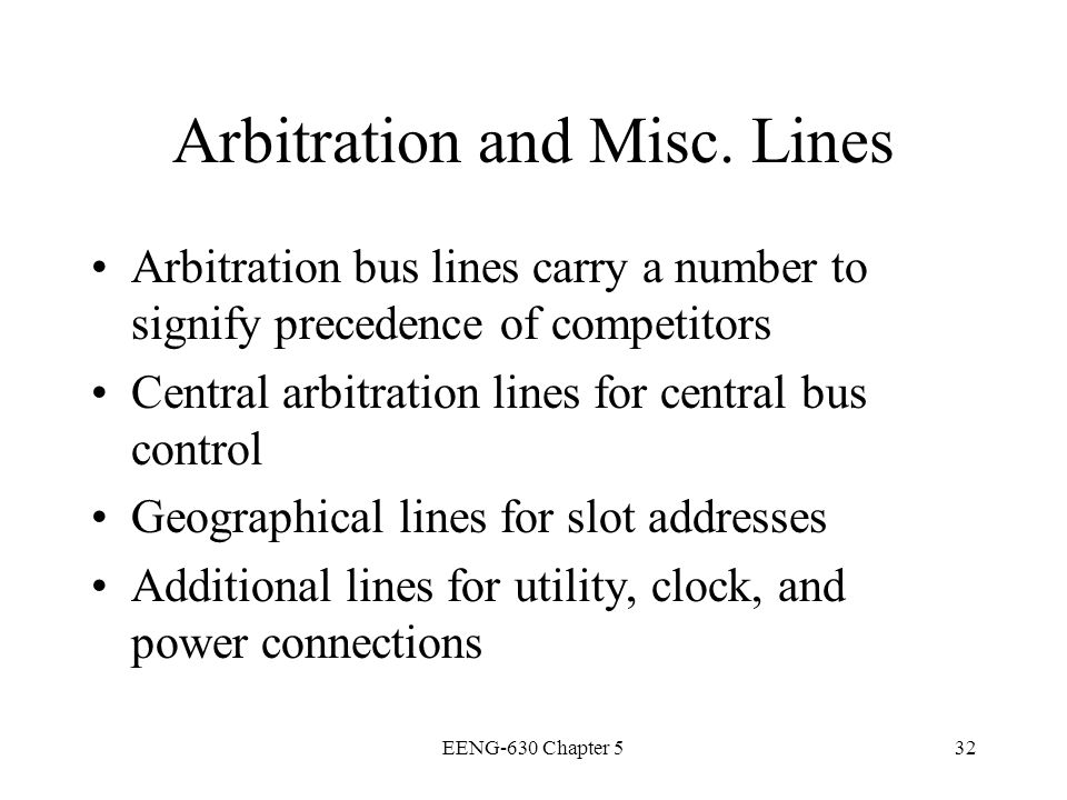 Arbitration and Misc. Lines