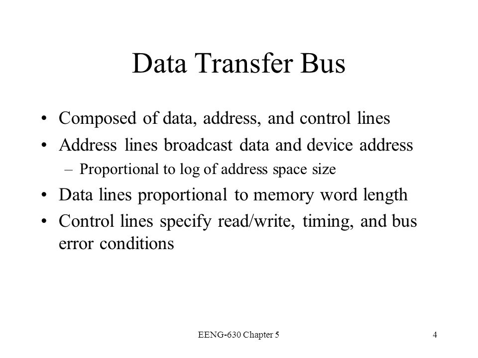 Data Transfer Bus Composed of data, address, and control lines