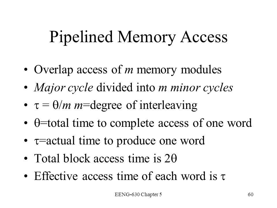 Pipelined Memory Access