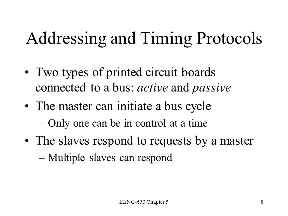 Addressing and Timing Protocols