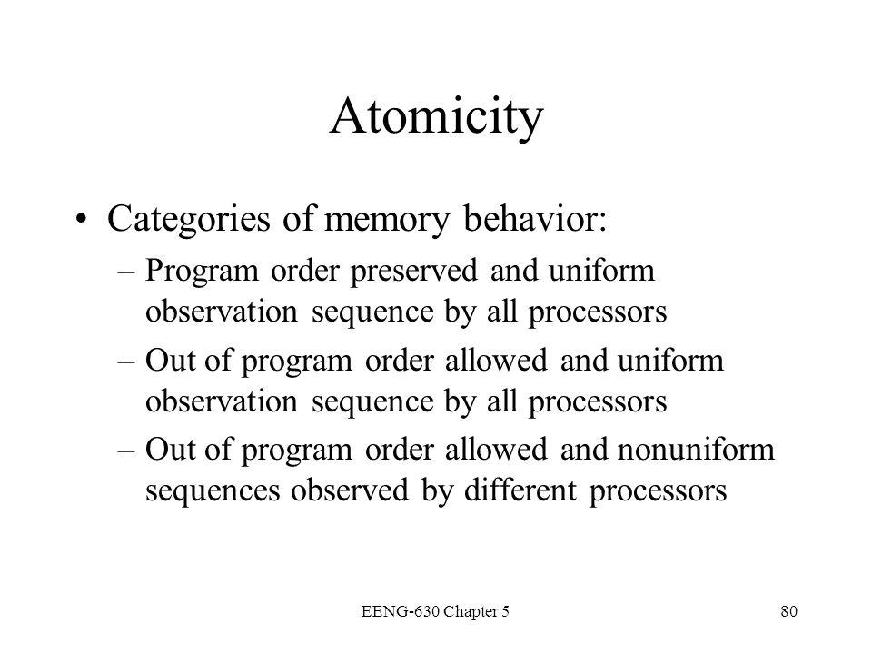 Atomicity Categories of memory behavior: