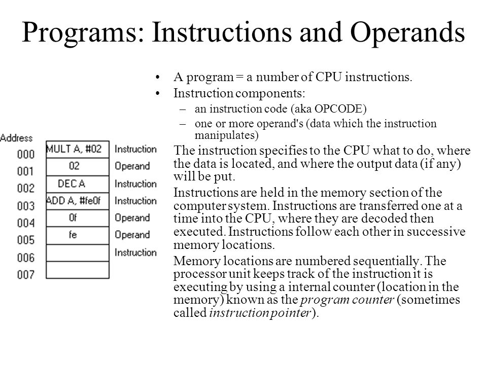 Programs: Instructions and Operands