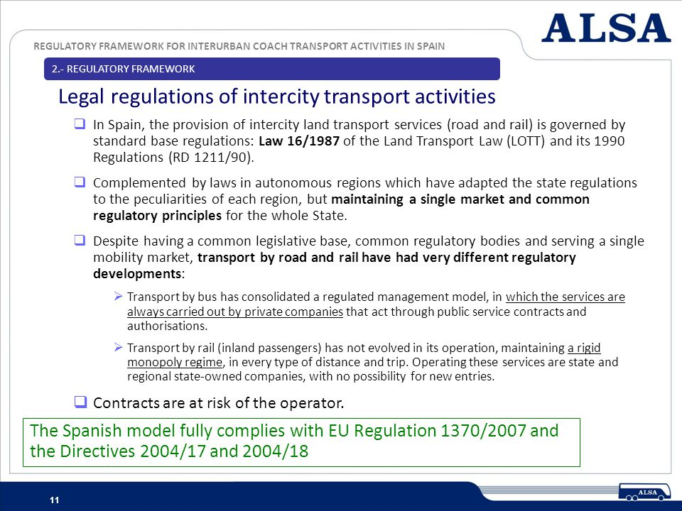 Legal regulations of intercity transport activities