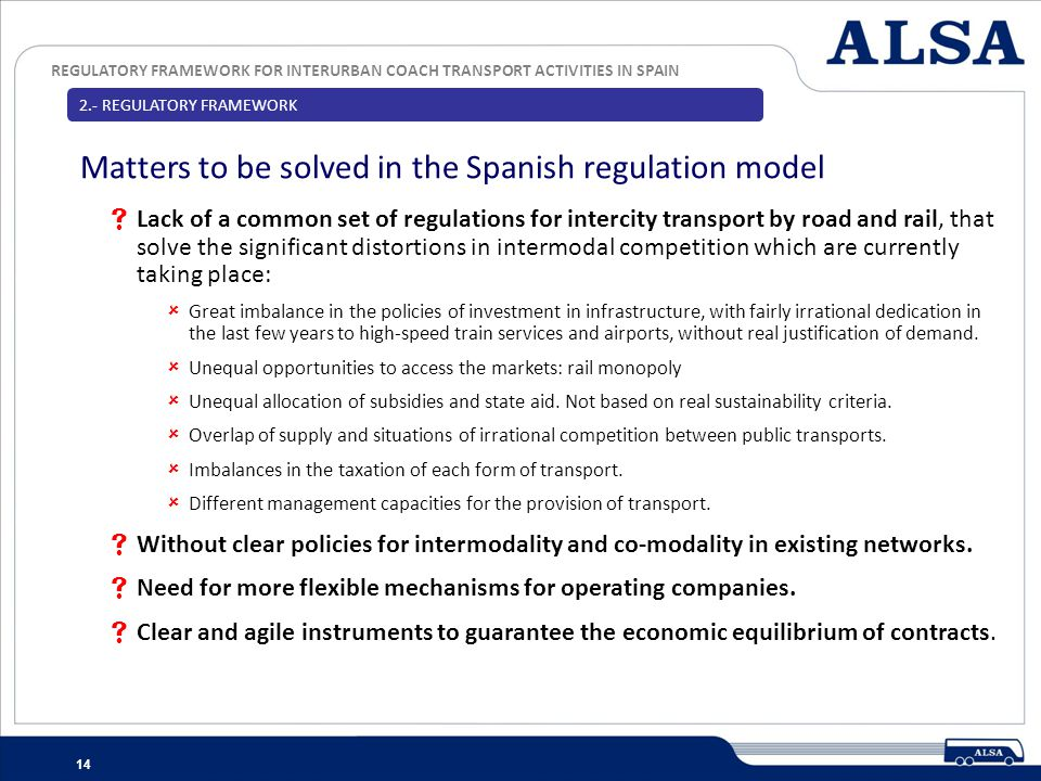 Matters to be solved in the Spanish regulation model