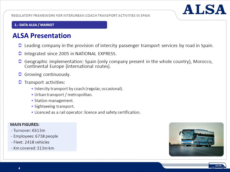 1.- DATA ALSA / MARKET ALSA Presentation. Leading company in the provision of intercity passenger transport services by road in Spain.