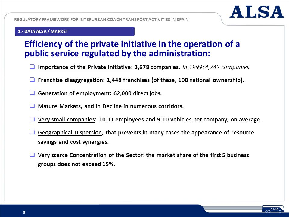 1.- DATA ALSA / MARKET Efficiency of the private initiative in the operation of a public service regulated by the administration: