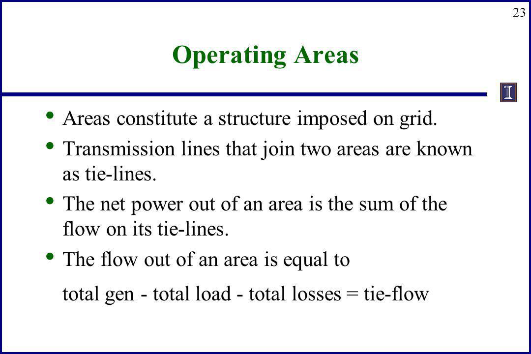 Operating Areas Areas constitute a structure imposed on grid.