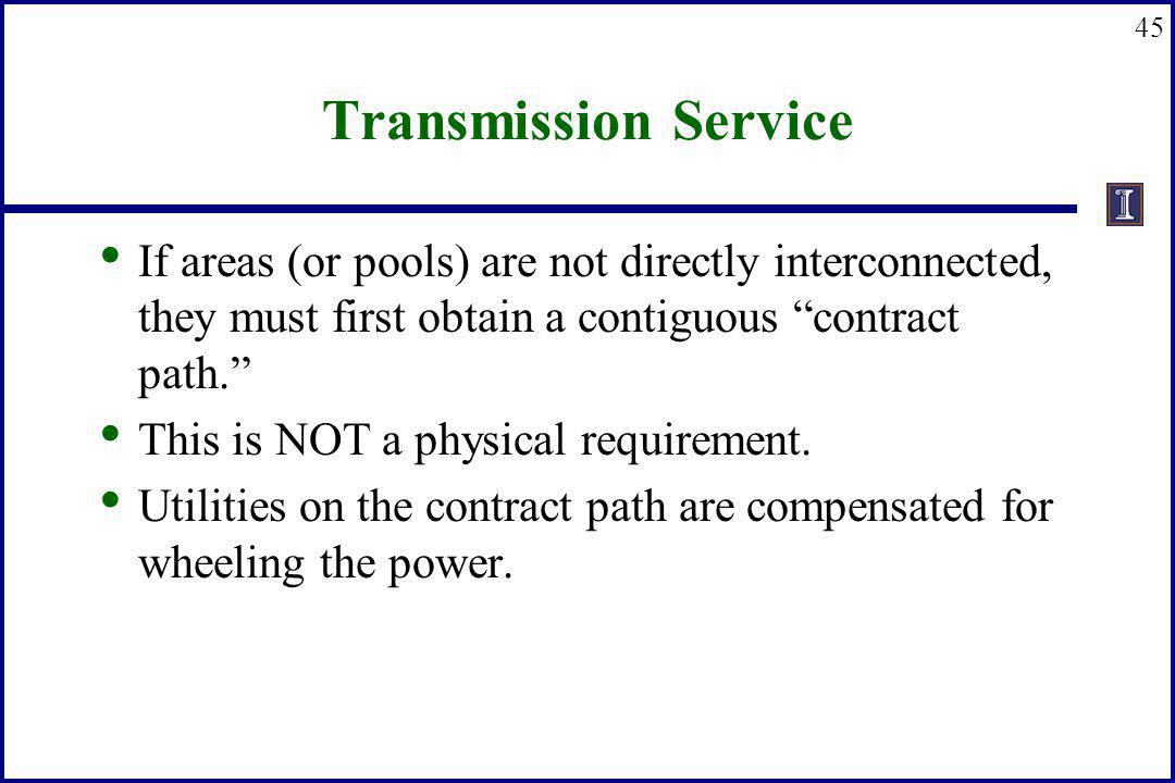 Transmission Service If areas (or pools) are not directly interconnected, they must first obtain a contiguous contract path.