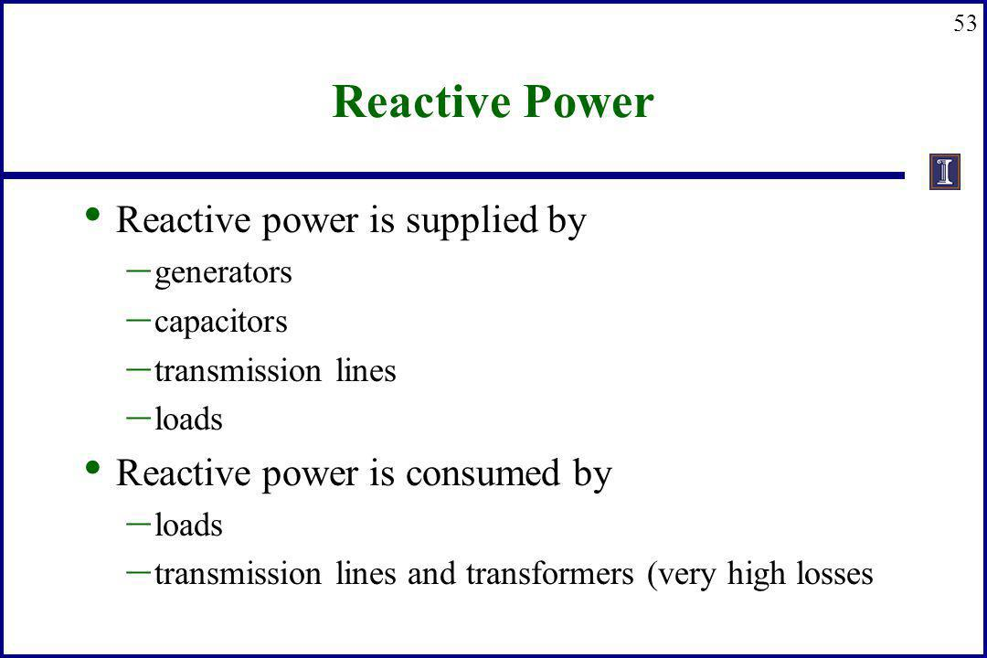 Reactive Power Reactive power is supplied by