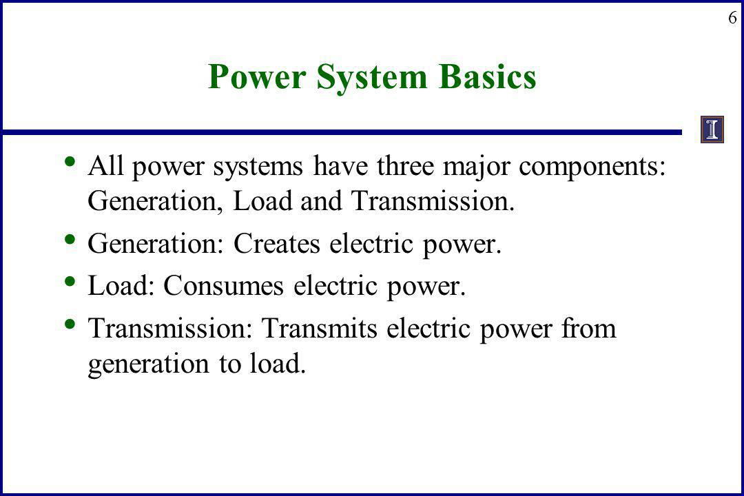 Power System Basics All power systems have three major components: Generation, Load and Transmission.