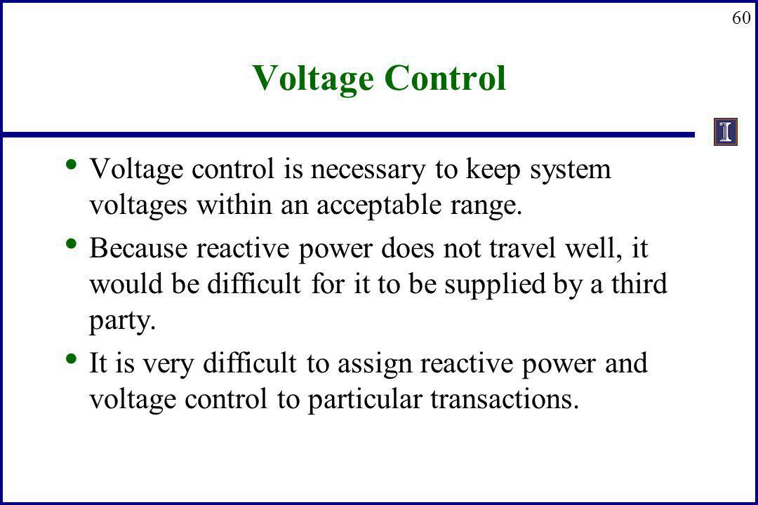 Voltage Control Voltage control is necessary to keep system voltages within an acceptable range.