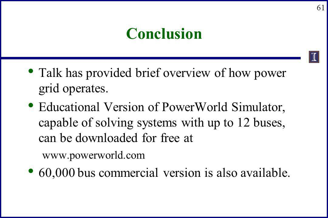 Conclusion Talk has provided brief overview of how power grid operates.