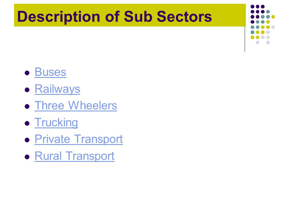 Description of Sub Sectors