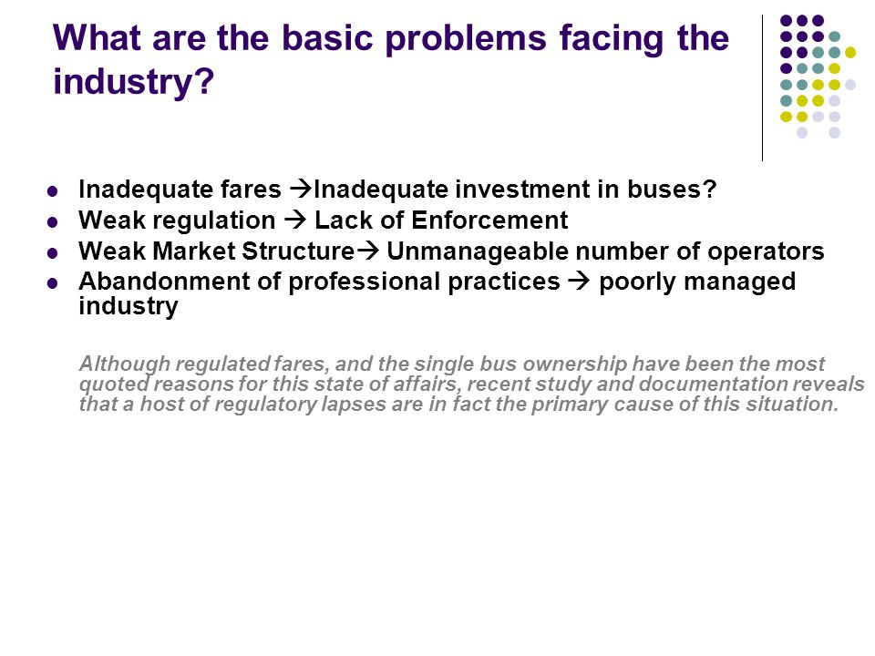 What are the basic problems facing the industry