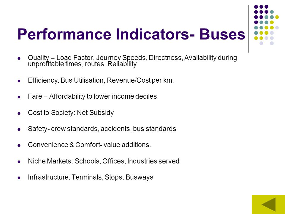 Performance Indicators- Buses