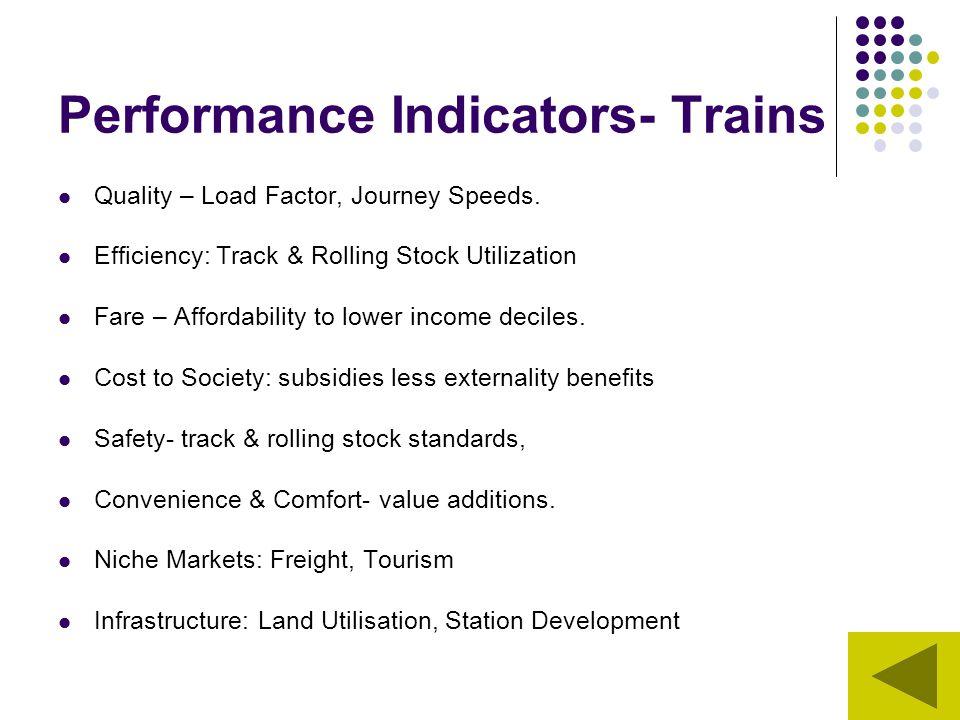 Performance Indicators- Trains