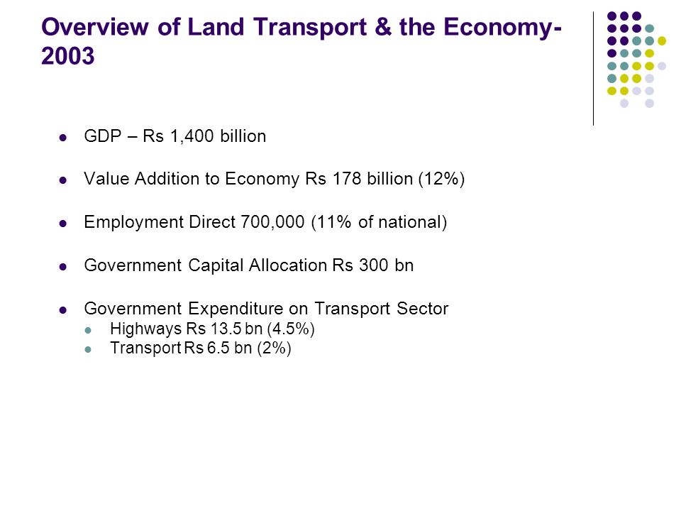 Overview of Land Transport & the Economy- 2003