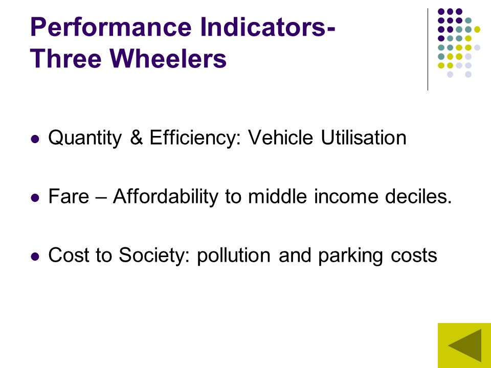 Performance Indicators- Three Wheelers