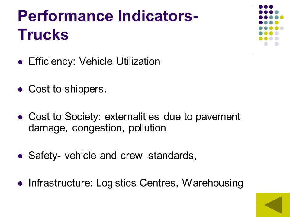 Performance Indicators- Trucks