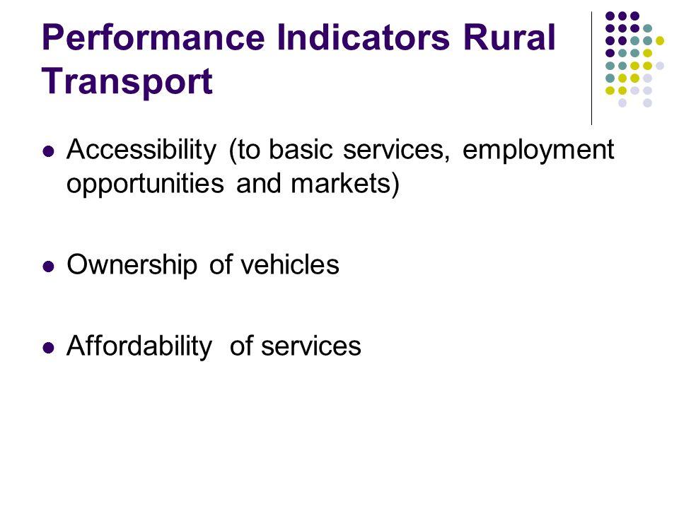 Performance Indicators Rural Transport