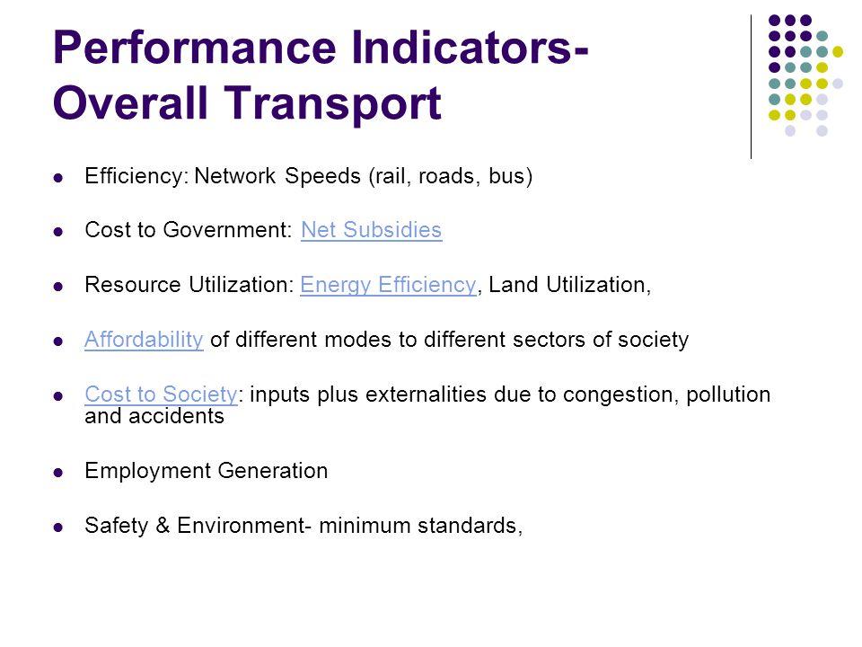 Performance Indicators- Overall Transport