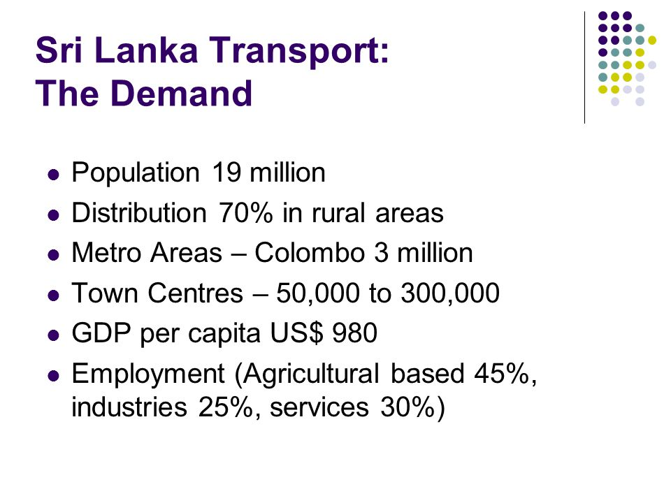 Sri Lanka Transport: The Demand