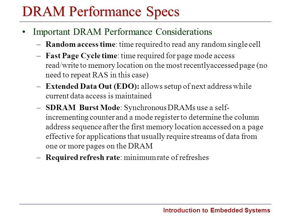 DRAM Performance Specs