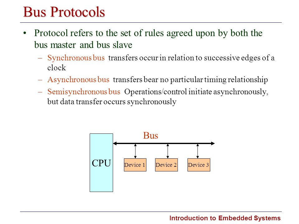 Bus Protocols Protocol refers to the set of rules agreed upon by both the bus master and bus slave.
