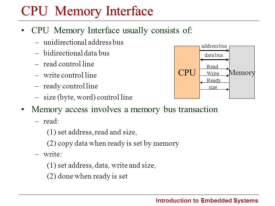 CPU  Memory Interface CPU  Memory Interface usually consists of: CPU