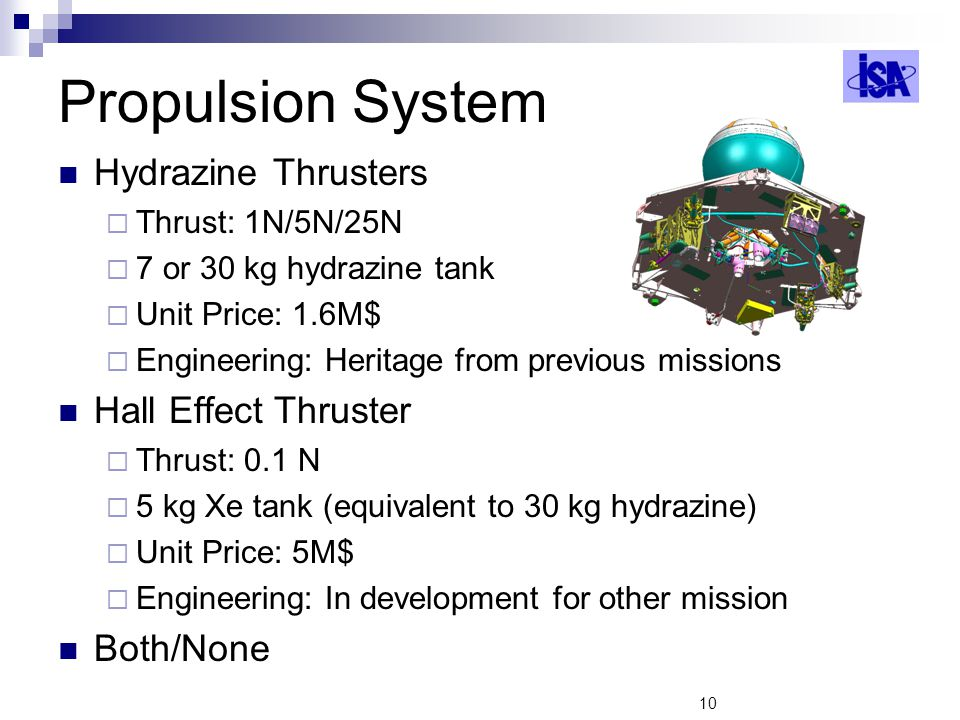 Propulsion System Hydrazine Thrusters Hall Effect Thruster Both/None