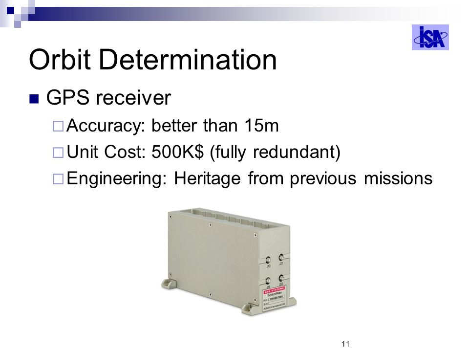 Orbit Determination GPS receiver Accuracy: better than 15m