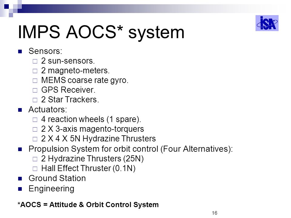 IMPS AOCS* system Sensors: Actuators: