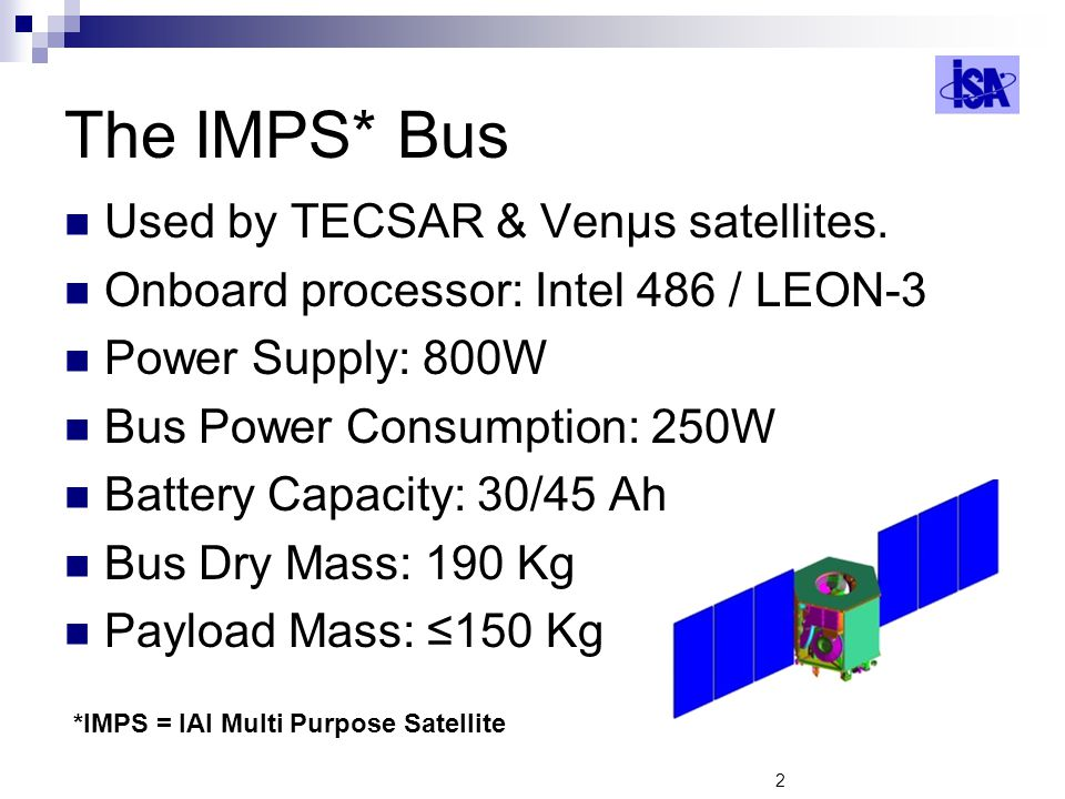 The IMPS* Bus Used by TECSAR & Venμs satellites.