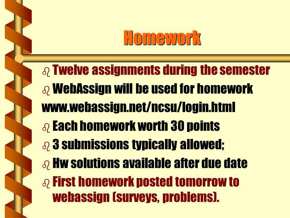 Homework Twelve assignments during the semester