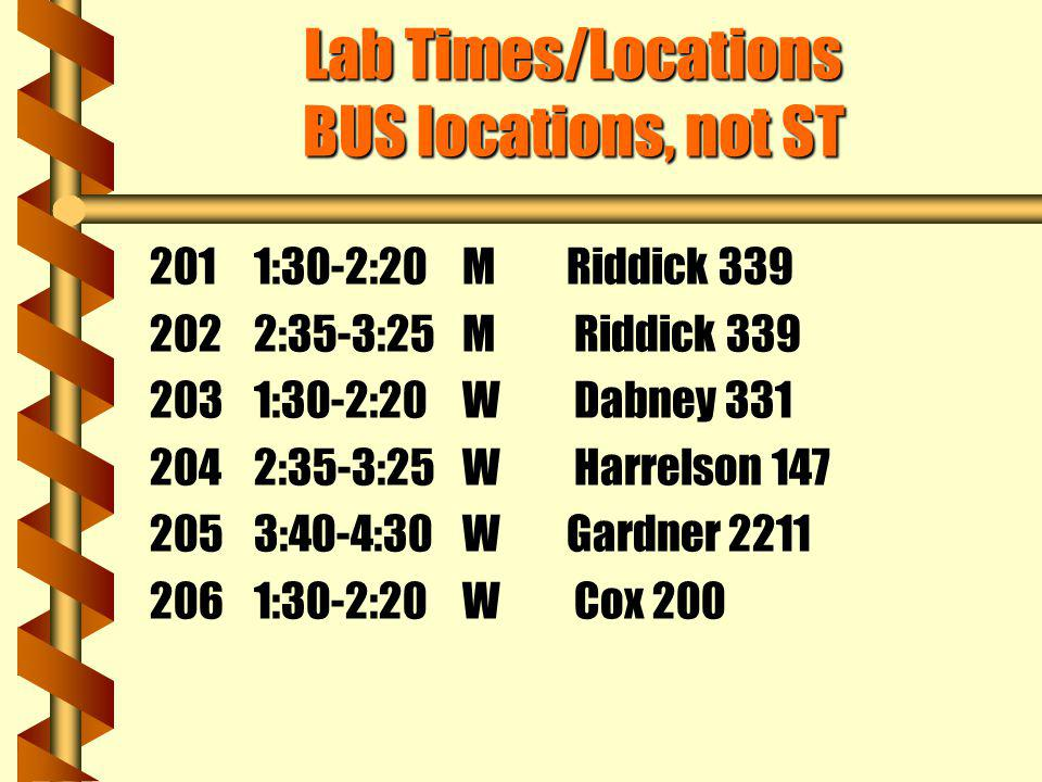 Lab Times/Locations BUS locations, not ST