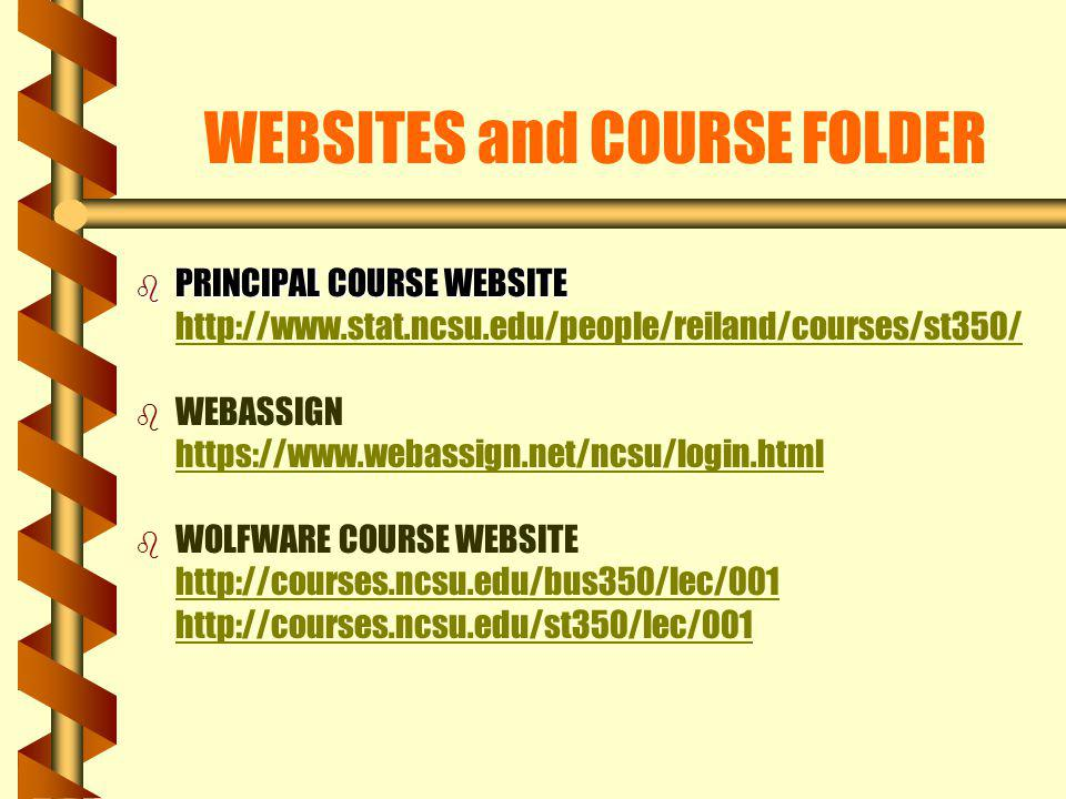 WEBSITES and COURSE FOLDER
