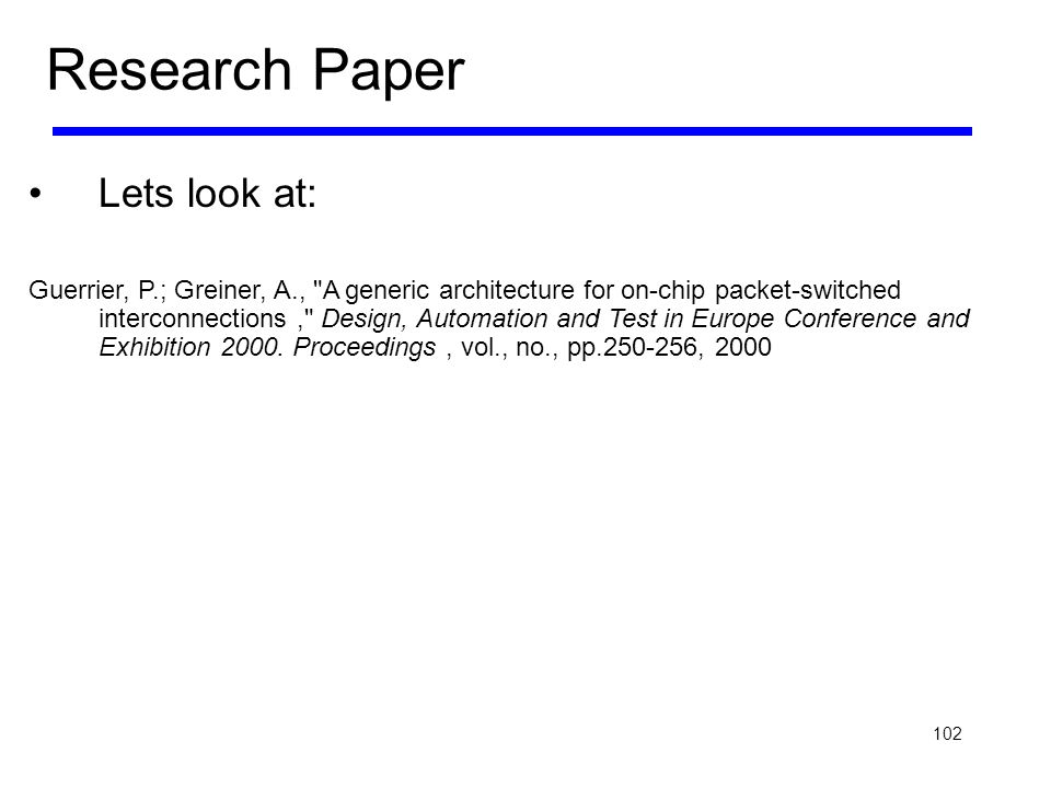 Research Paper Lets look at: