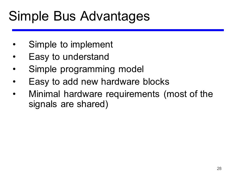 Simple Bus Advantages Simple to implement Easy to understand
