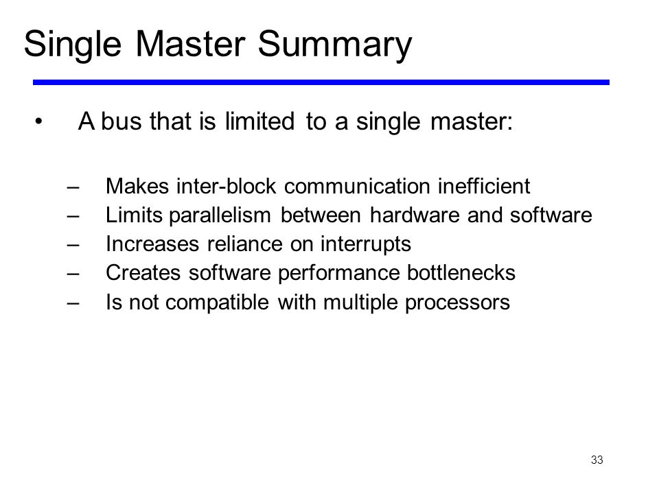 Single Master Summary A bus that is limited to a single master: