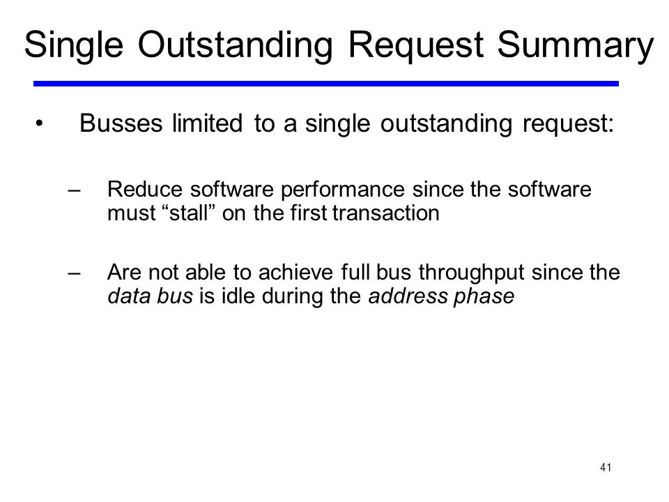 Single Outstanding Request Summary