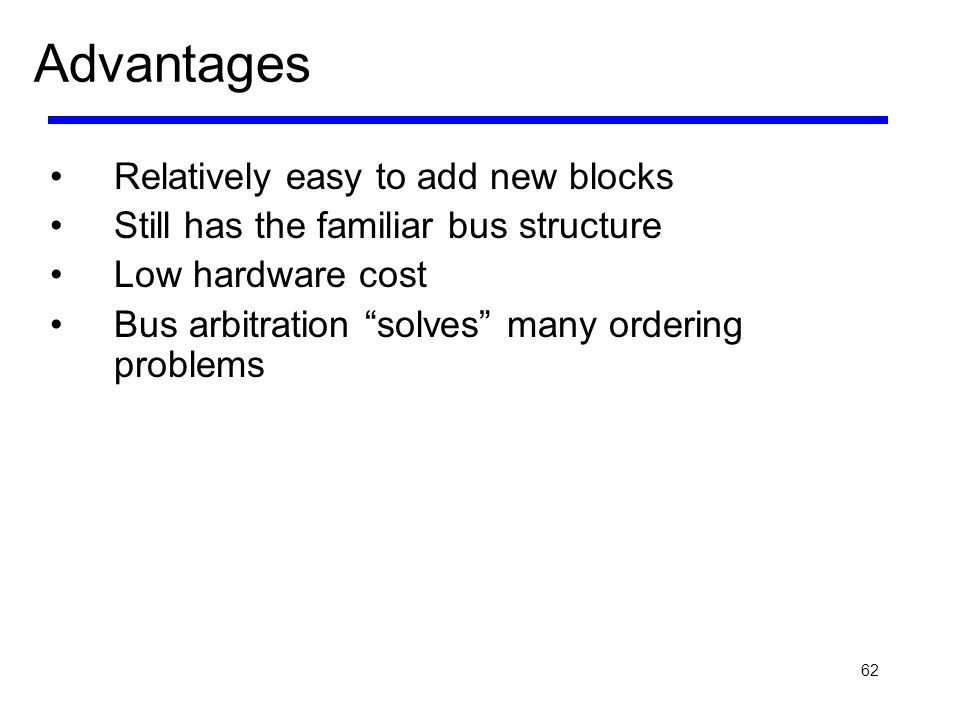 Advantages Relatively easy to add new blocks