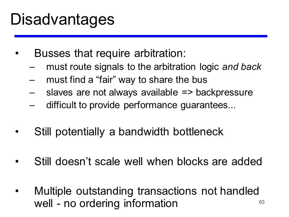 Disadvantages Busses that require arbitration: