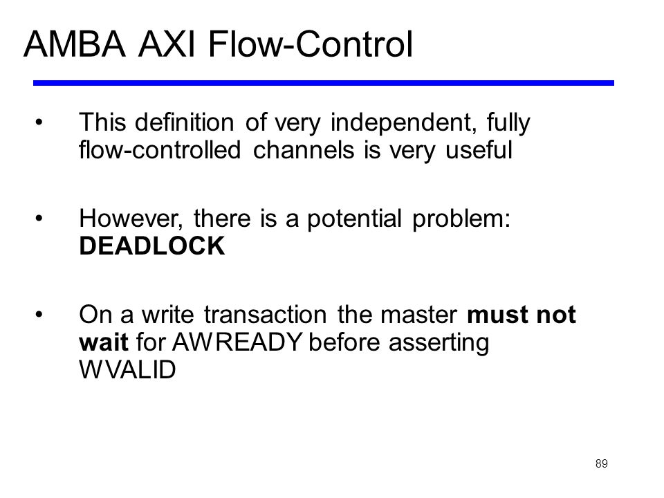 AMBA AXI Flow-Control This definition of very independent, fully flow-controlled channels is very useful.
