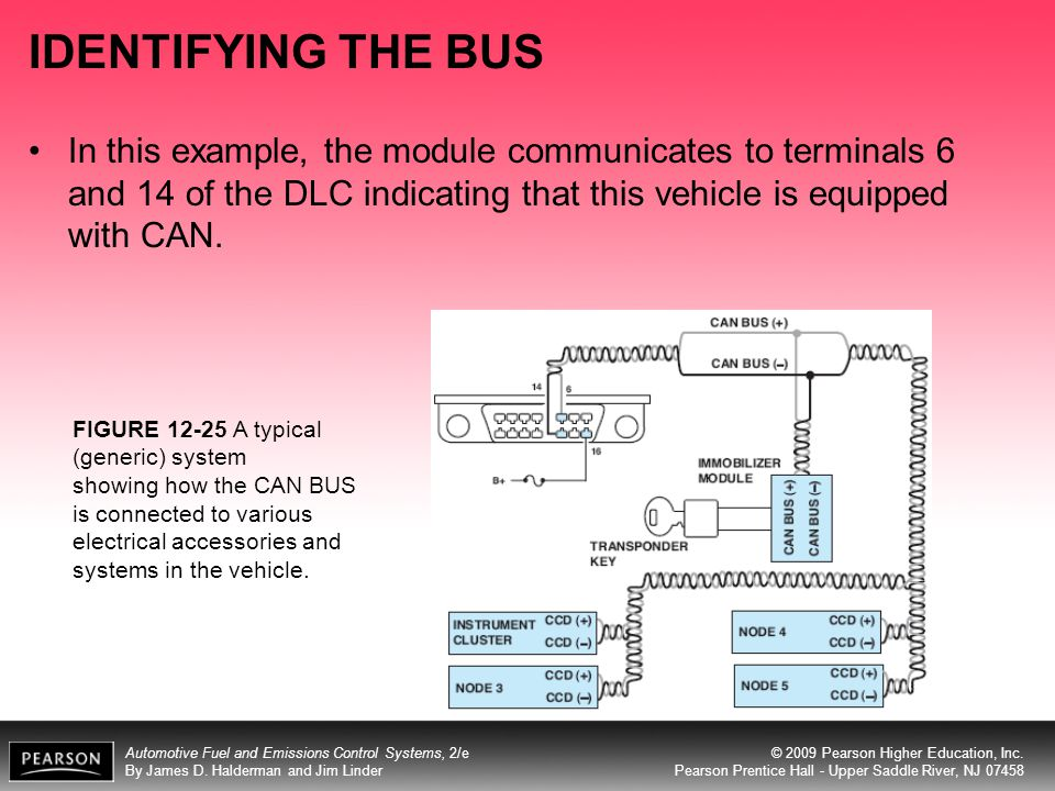 IDENTIFYING THE BUS In this example, the module communicates to terminals 6 and 14 of the DLC indicating that this vehicle is equipped with CAN.
