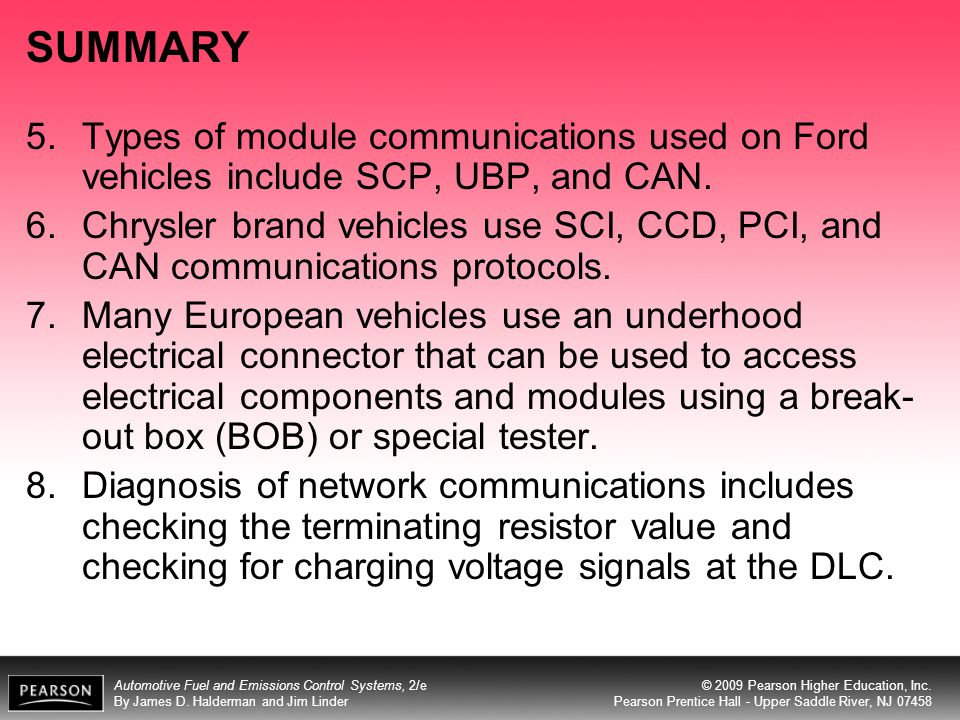 SUMMARY Types of module communications used on Ford vehicles include SCP, UBP, and CAN.