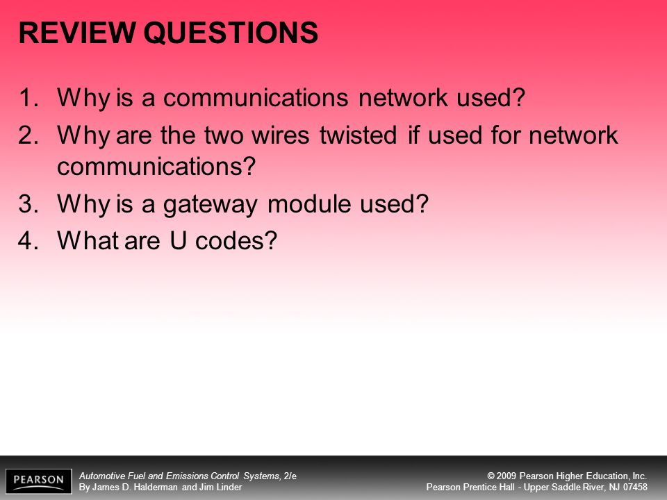 REVIEW QUESTIONS Why is a communications network used