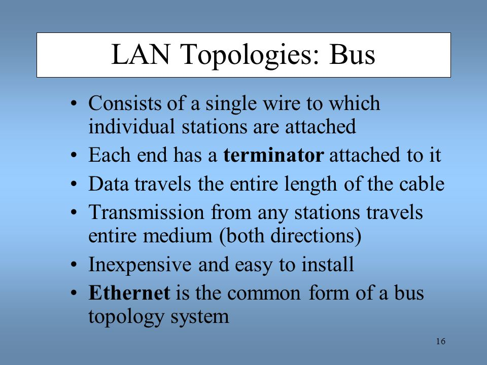 LAN Topologies: Bus Consists of a single wire to which individual stations are attached. Each end has a terminator attached to it.