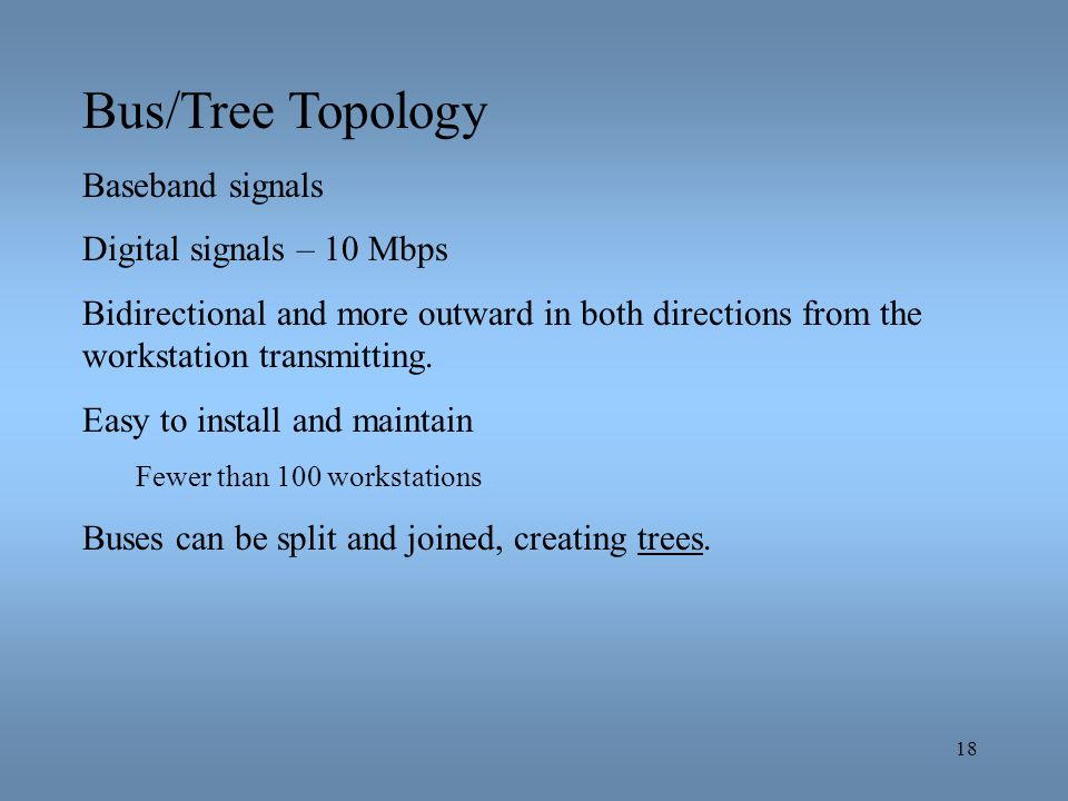 Bus/Tree Topology Baseband signals Digital signals – 10 Mbps