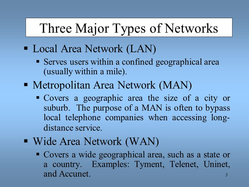 Three Major Types of Networks