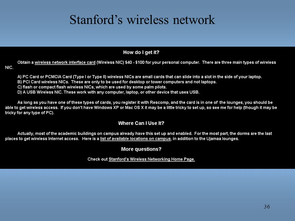 Stanford's wireless network